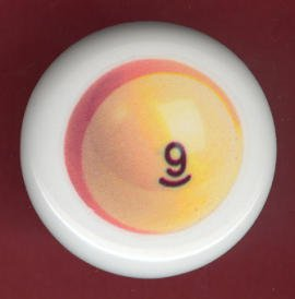 POOL BALL #9 Billiards Ceramic Drawer Knob Pulls