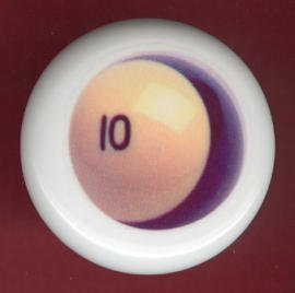 POOL BALL #10 Billiards Ceramic Drawer Knob Pulls