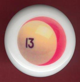POOL BALL #13 Billiards Ceramic Drawer Knob Pulls