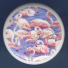 Circle of PINK FLAMINGOS Blue Ground Ceramic KNOBS