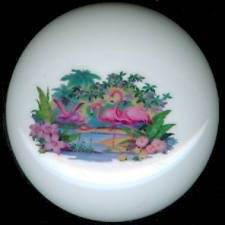 Vintage Design FLOCK of FLAMINGOS Ceramic KNOBS Pulls