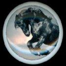 Black HORSE STALLION Jumping Ceramic Knobs Handles Pulls - Free Shipping