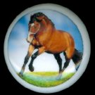 CHESTNUT Brown Color HORSE Running Ceramic Knobs Handles Pulls - Free Shipping