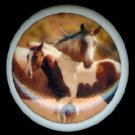 Brown & White MAMA HORSE and COLT Ceramic Knobs Handles Pulls - Free Shipping