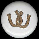 BROWN TAN Double HORSESHOE Western Decor ~ Ceramic Knob Knobs