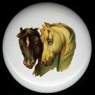 Victorian HORSES Black and White ~ Ceramic Knob Knobs