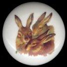 VICTORIAN RABBIT TRIO Ceramic Drawer Knobs