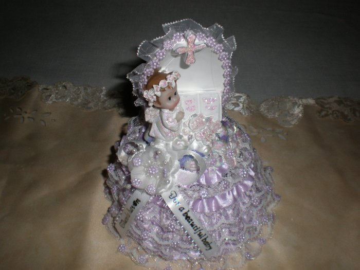 first communion/baptism purple cake topper