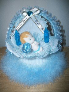 Beautiful unique baby boy birthday/shower caketopper