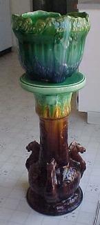 Rare Blended Majolica J b owens pottery Winged Pegasus Horse flying pedestal & Jardiniere Jardinere