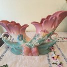 LARGE VINTAGE PINK BLUE ♥ HULL BOW KNOT ♥ ART POTTERY FLOWER CORNUCOPIA VASE