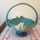 RARE VINTAGE ✿ ROSEVILLE ✿ POTTERY BLUE IRIS FLOWER TABLE BASKET VASE
