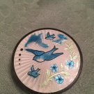 SUPERB ! VINTAGE GUILLOCHE ENAMEL BLUE BIRDS MAKE UP VANITY PURSE COMPACT CASE