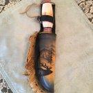 Vtg.  Stag HORN Hunting Skinning Fixed Blade Knife CUSTOM  Elk Leather Sheath