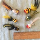 6 Vintage wood bee bug like fishing lures w/ feather tails