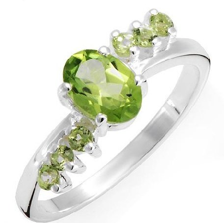 Sterling Silver 1.15 ctw Genuine Peridot Ring SZ 6