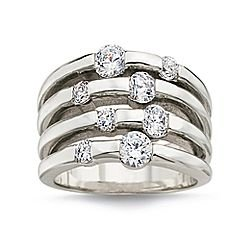 Sterling Silver CZ 4-Row Ring Sz 8