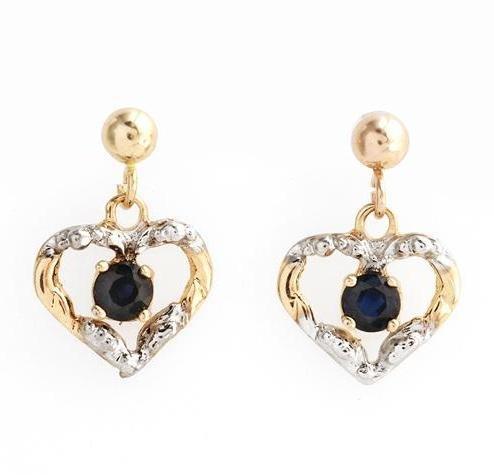 10kt Sapphire Heart Dangle Earrings
