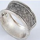 FASHION ART DECO SILVER TONE BANGLE BRACELET