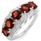 Garnet Sterling Silver Ring 3ctw