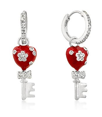 White GP Red Enamel and Pave CZ Heart Key Charm Earrings