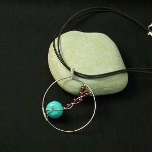 Silver Pendant with Howlite Turquoise and Garnet Beads