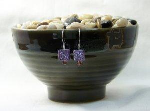 Purple Square Paintball Bead Earrings