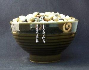 Silver Spiral Hematite Earrings