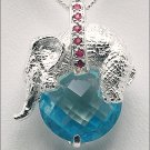 Topaz Ruby Elephant Necklace Free Shipping