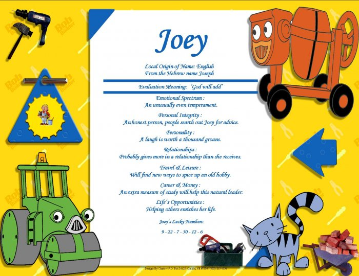 Bob the Builder Friends Personalized First Name Meaning Print