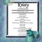 Monsters Inc Personalized First Name Meaning Print