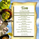 Shrek and Friends Personalized First Name Meaning Print