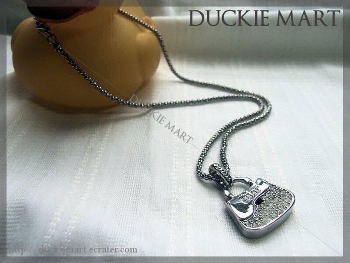 "BRAND NEW Cute mini ""Dior"" 3-D Rhinestone Purse Necklace"