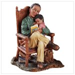 A CHILD ENJOYS  THE  WARMTH COMFORT OF GRANDPA