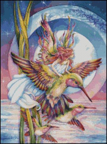 FANTASY HUMMINGBIRD cross stitch pattern