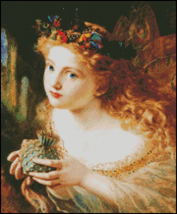 Sophie Anderson TAKE THE FAIR FACE OF WOMAN cross stitch pattern