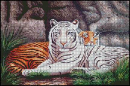 Tigers AFTER THE HUNT cross stitch pattern