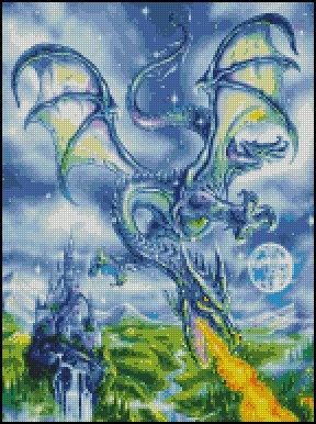 DRAGON IN FLIGHT cross stitch pattern