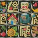 LOVE, HOME, FAMILY, FRIENDS cross stitch pattern