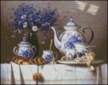 CHINA AND BLUE CORNFLOWER cross stitch pattern