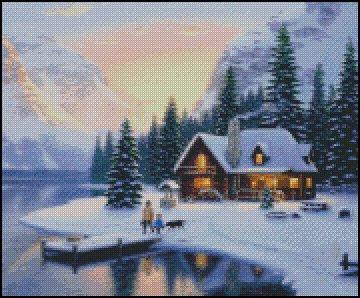 WINTER COTTAGE cross stitch pattern