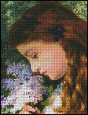 GIRL WITH LILAC cross stitch pattern