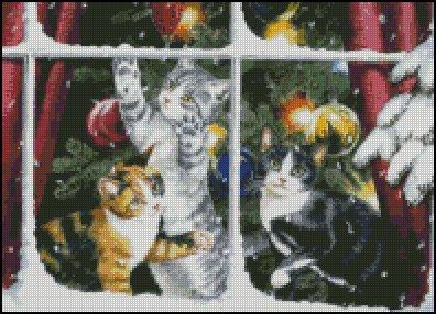 CHRISTMAS CATS cross stitch pattern