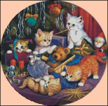 CHRISTMAS KITTIES cross stitch pattern