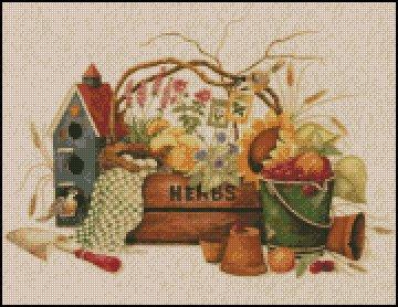 GARDEN HERBS cross stitch pattern