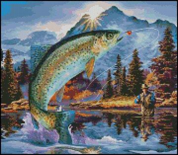 FISHING cross stitch pattern