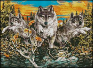 WOLF CROSSING cross stitch pattern