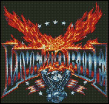 BIKER FLAME cross stitch pattern
