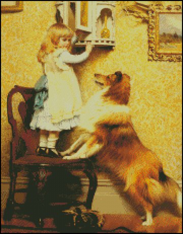 A LITTLE GIRL AND HER SHELTIE cross stitch pattern