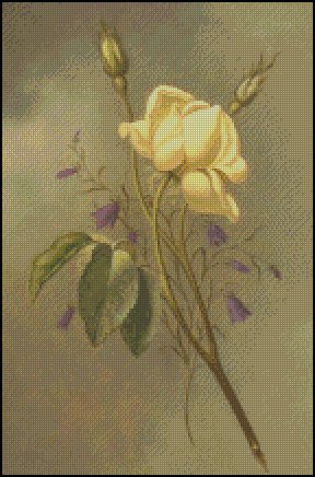 YELLOW ROSE AGAINST A CLOUDY SKY cross stitch pattern